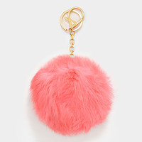 Large Rabbit Fur Pom Pom Keychain, Key Ring Bag Pendant Accessory - Pastel Coral