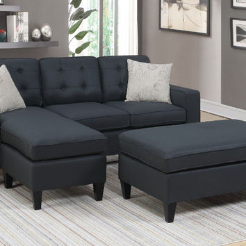 Poundex F6575 2 pc daryl black linen like fabric reversible chaise sectional sofa set with ottoman
