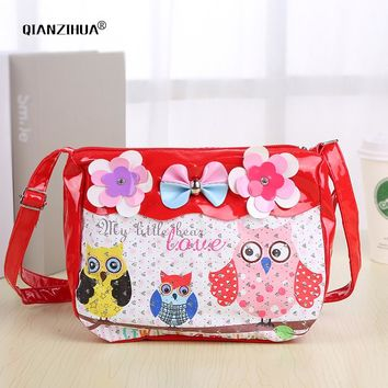 Cartoon Cute Kids Children Messenger Bags Owl Printing PU Satchel school bags for kindergarten girls bow crossbody shoulder bags
