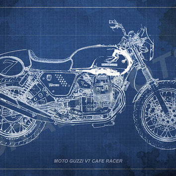 Moto Guzzi Cafe Racer Blueprint, Art Print 12x8 to 60x41 in, Motorcycle Art print