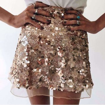 Womens Silver Sequined Skirt