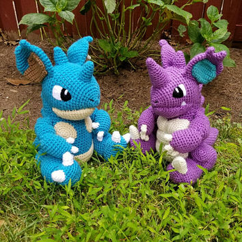 Pokemon Inspired: Nidoking and Nidoqueen Amigurumi (Crochet Plushie/Plush Toy) in normal or shiny colors! - MADE TO ORDER!