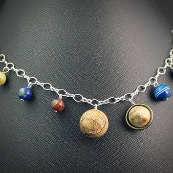 Solar System Charm Bracelet: Silver // Planet Earth Moon Stars Jewelry // Science Space Travel Nerd // Rocket Star Ship // Scifi // Nerd