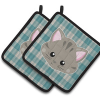 Kitten Face  Pair of Pot Holders BB6932PTHD