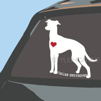 ITALIAN Greyhound / WHIPPET / GREYHOUND decal - Optional red heart - personalized high quality vinyl dog car stickers for car windows & more