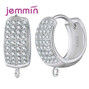 MDIGIJ5 Jemmin Big Promotion 10PCS Sparkly Wide Hoop Earrings for Women 925 Sterling Silver Crystal Jewelry Accessories White Bijoux