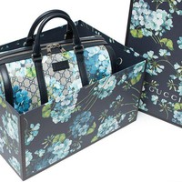 PEAPIX5 Gucci Blue Small gg Blooms Blossom Duffle Bag Canvas Boston Bag Authentic New