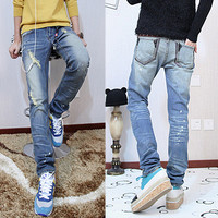 Vintage Ripped Design Slim Fit Jeans