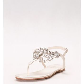 Crystal-Embellished T-Strap Thong Sandals | David's Bridal