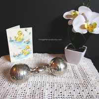 Vintage Tiffany and Company Sterling Silver Baby Rattle, 925 Silver Rattle
