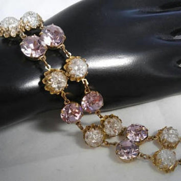 On Sale Vintage High End Rhinestone Bracelet, Mid Century 1960's Designer Style Jewelry, Lavender & Crackle Glass Stones