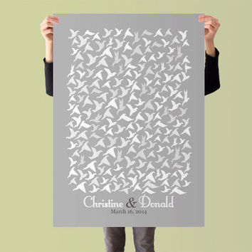 Wedding Guest Book Poster Guest Book Alternative Origami Wedding Guestbook Print Wedding Guestbook Print for 200 Guest Wedding Poster