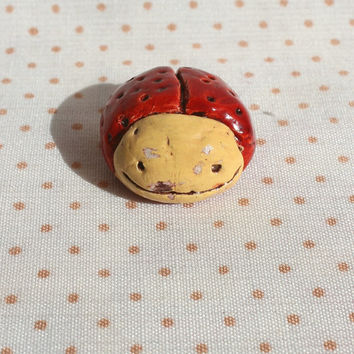 OOAK ladybug figurine small bug rustic totem primitive yellow red brown 1'