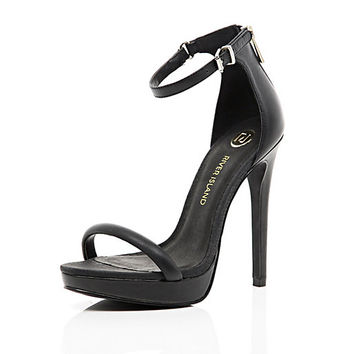 River Island Womens Black platform barely there sandals