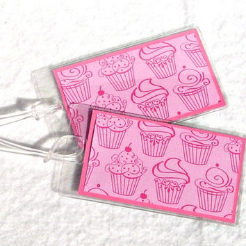 Cupcake luggage tags, pink id tags, girly tags, set of 2 in vinyl
