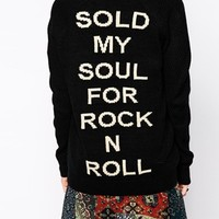 Lira Oversized Grandad Cardigan With Rock & Roll Back Embroidery