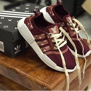 shosouvenir : adidas NMD x LV Louis Vuitton Burgundy Women Fashion Trending Running Sp