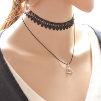 Forever21 Jewelry Stylish Shiny Ladies Lace Pendant Choker [7587087559]