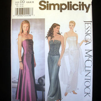 Bustiers and Skirts for Formal, Prom, Evening, Bridesmaid Sizes 4, 6, 8,10 Simplicity 9484 Sewing Pattern