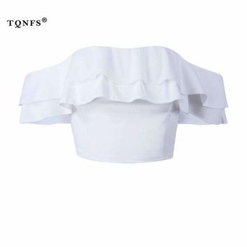 ONETOW tqnfs Elegant off shoulder womens tops and blouses ruffles backless white women blouses   blouse women crop top