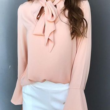 Pink Cut Out Irregular Lace-up Flutter Sleeve Fashion Blouse