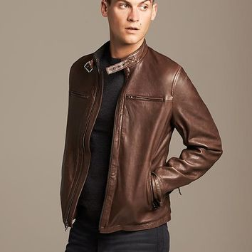 Banana Republic Mens Brown Leather Moto Jacket Size L - Light brown