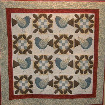 Quilted Wall Hanging Teal Birds