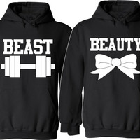 Beast and Beauty Couple Hoodies  For Her For Him Unisex Sizes, So Comfy Cozy, Perfect for any day to share your love Valentine's Day Gifts