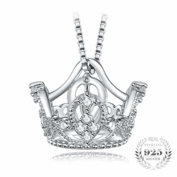 Crown Shaped Pendant with Round Cubic Zirconia 925 Sterling Silver