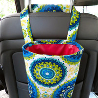 Water Resistant Car Trash Bag/Organizer Caddy for Head Rest Blue Circles & Flowers with Hot Pink Lining Car
