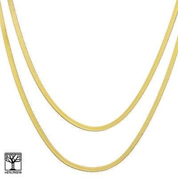 "Jewelry Kay style Men's Bling 14K Gold Plated 4 mm 20"" / 24"" Double Herringbone Chain Necklace"
