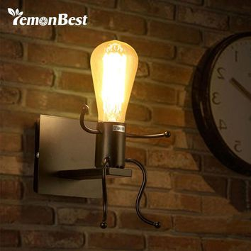 Creative Man Shape Wall Lamp Cute Light Sconce E27 Socket Bathroom Light for Home AC 85-240V (no bulb included)