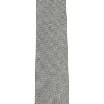 Tom Ford Mens Grey Brushed Linen Silk Blend Patterned Classic Tie