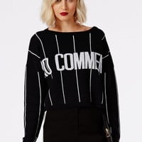 Missguided - No Comment Stripe Oversized Knitted Slogan Jumper Black And Cream