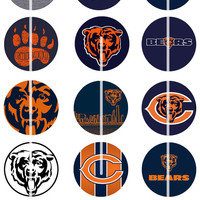 Chicago Bears Digital Collage Sheet, NFL Team Themed Football Logo Printable Circles,1/1.5 inch Round Image Pendant,Cabochon,Charm,Coaster