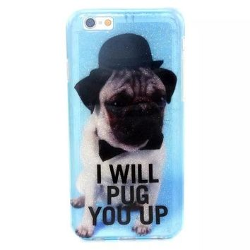 I WILL PUG YOU UP Twinkle Silicagel Case Cover for iPhone & Samsung Galaxy-170928