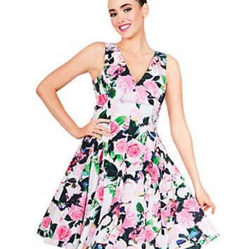 ALLOVER BLOOMS MIDI DRESS: Betsey Johnson