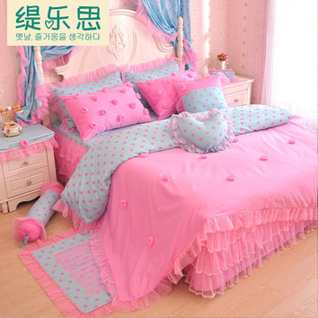 2015 New 100% Cotton Princess lace style Bedding Set Satin Jacquard Bed Set Duvet cover Full/Queen/King size Bedspread Bed linen