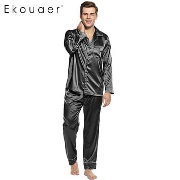Ekouaer Men Pajamas Set Long Sleeve Sleepwear Turn Down Collar Nightwear Homewear Polyester Satin Pajamas Size S M L XL