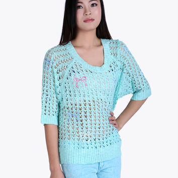 Open Weave Blue Sweater