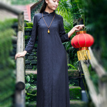 Women Vintage Maxi Dress Cheongsam 2017 Fall Winter New Jacquard Long Sleeve Stand Collar Loose Cotton Linen Long Pullover Dress