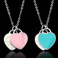 S925 Sterling Silver Double Heart Pendant Necklace Blue Pink Enamel Chain Clavicle Love Necklace Best Gift for Women Girls