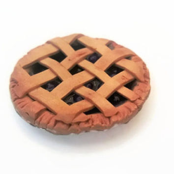 Bluberry Pie Miniature ~ Polymer Clay Miniature ~ Edible Art ~ Food Miniature ~ Pie Polymer Clay  ~ Dollhouse Food