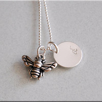 Bumble Bee Charm Necklace, Personalized Necklace, Bee Jewelry, Initial charm necklace, Silver Personalized Necklace, Bumble Bee Charm
