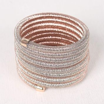 Metallic Wire Wrap Around Bracelet