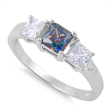 925 Sterling Silver CZ Three Stones Princess Cut Simulated Mystic Topaz Ring 4MM