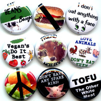 "VEGAN Proud Vegetarian 9 Pinback 1"" Buttons Badges Pins Set 3"