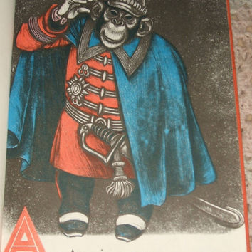 1952 Ape In A Cape ABC's Alphabet of Odd Animals by Fritz Eichenberg Children's Illustrated Hardcover Book