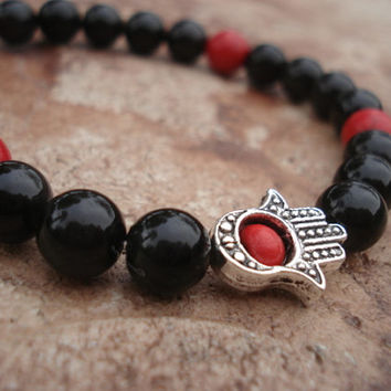 Hamsa Hand Bracelet with Obsidian and Red Magnesite, For Him