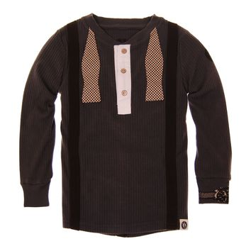 Real Suspender Bow Tie Henley Shirt by: Mini Shatsu